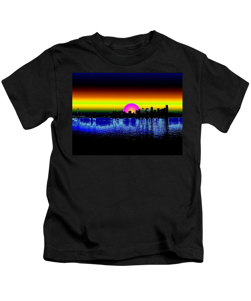 Seattle Kids T-Shirt featuring the digital art Seattle Dawning by Tim Allen