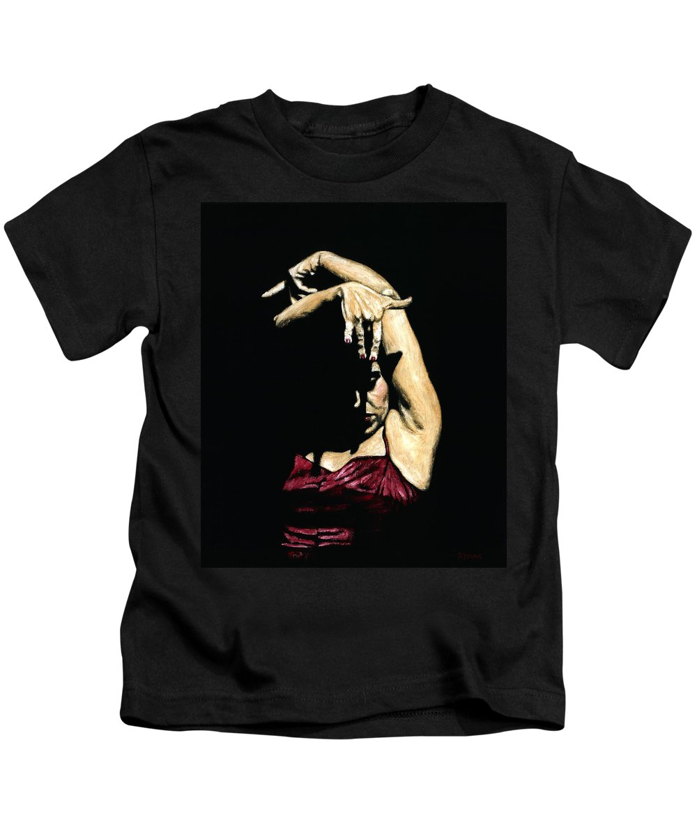 Flamenco Kids T-Shirt featuring the painting Seclusion Del Flamenco by Richard Young