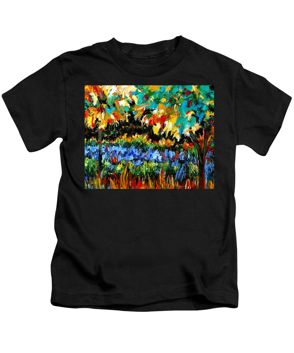 Landscape Kids T-Shirt featuring the painting Secret Garden by Debra Hurd