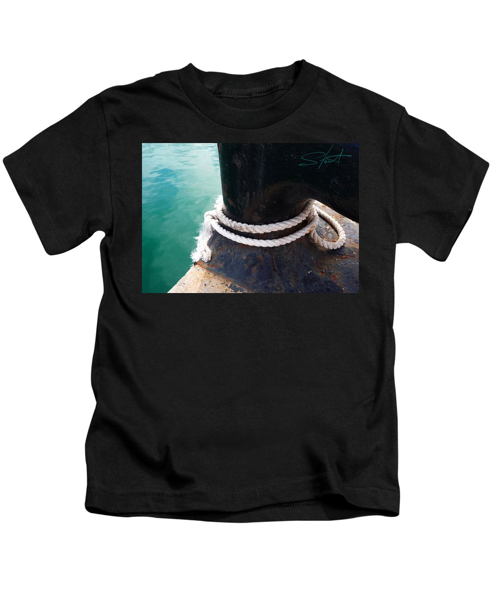 Fishing Net Kids T-Shirt featuring the photograph Secure by Charles Stuart