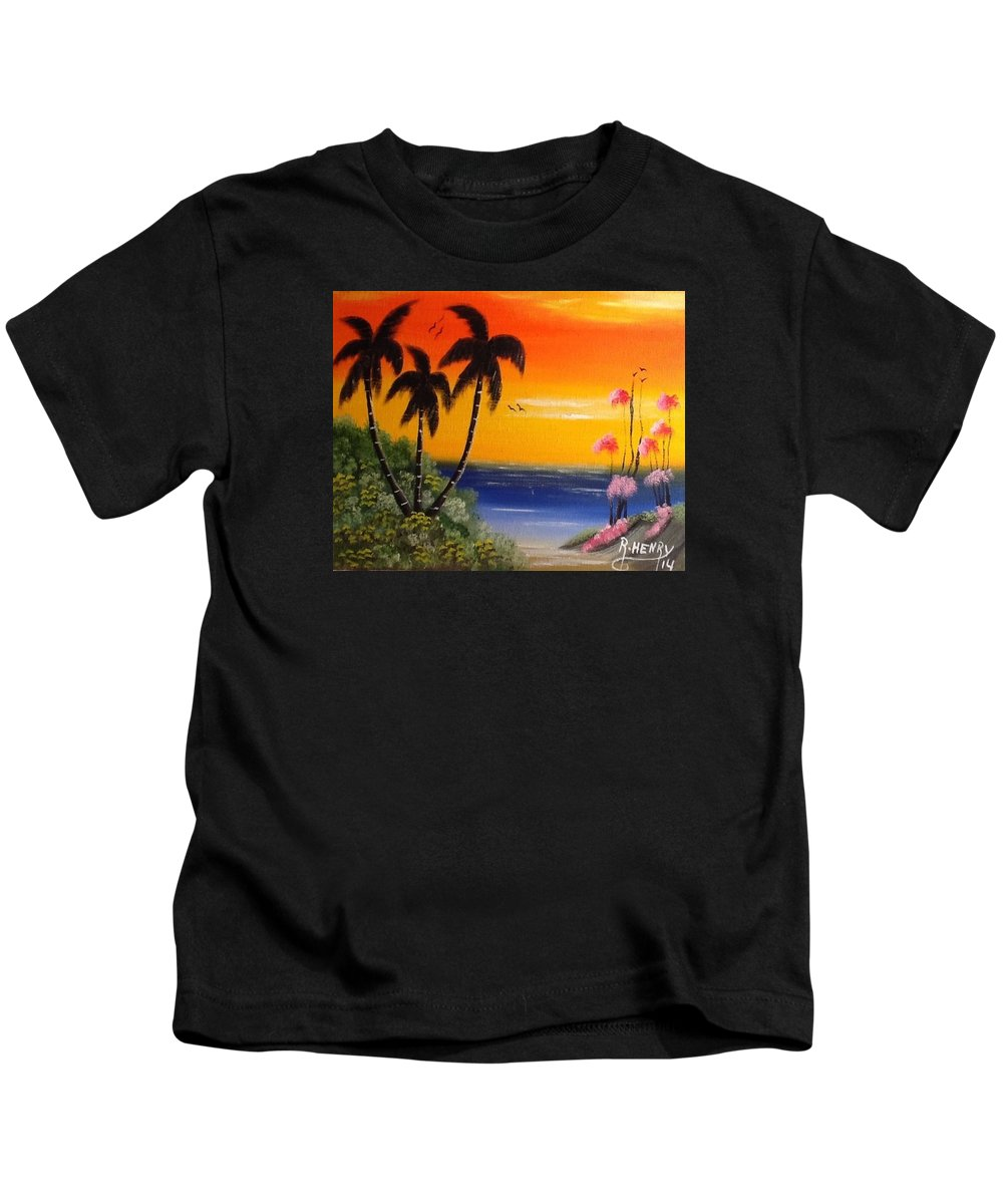 Art Kids T-Shirt featuring the painting Seescape by Reginald Henry