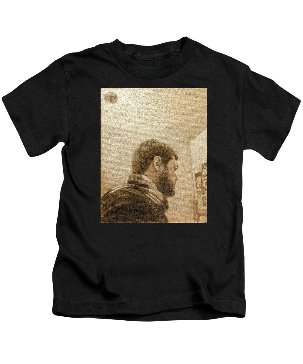 Kids T-Shirt featuring the painting Self by Joe Velez