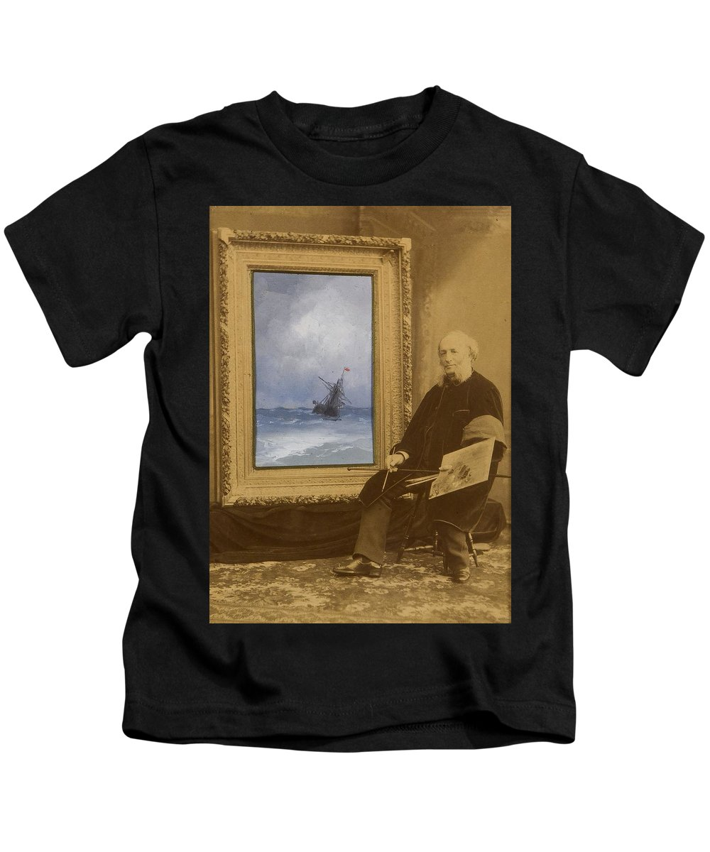Ivan Aivazovsky (1817-1900) (ru) Self-portrait With Seascape Kids T-Shirt featuring the painting Self Portrait With Seascape by Ivan Aivazovsky