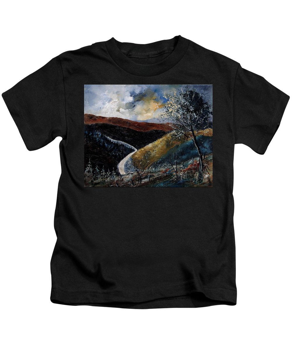 River Kids T-Shirt featuring the painting Semois Valley by Pol Ledent