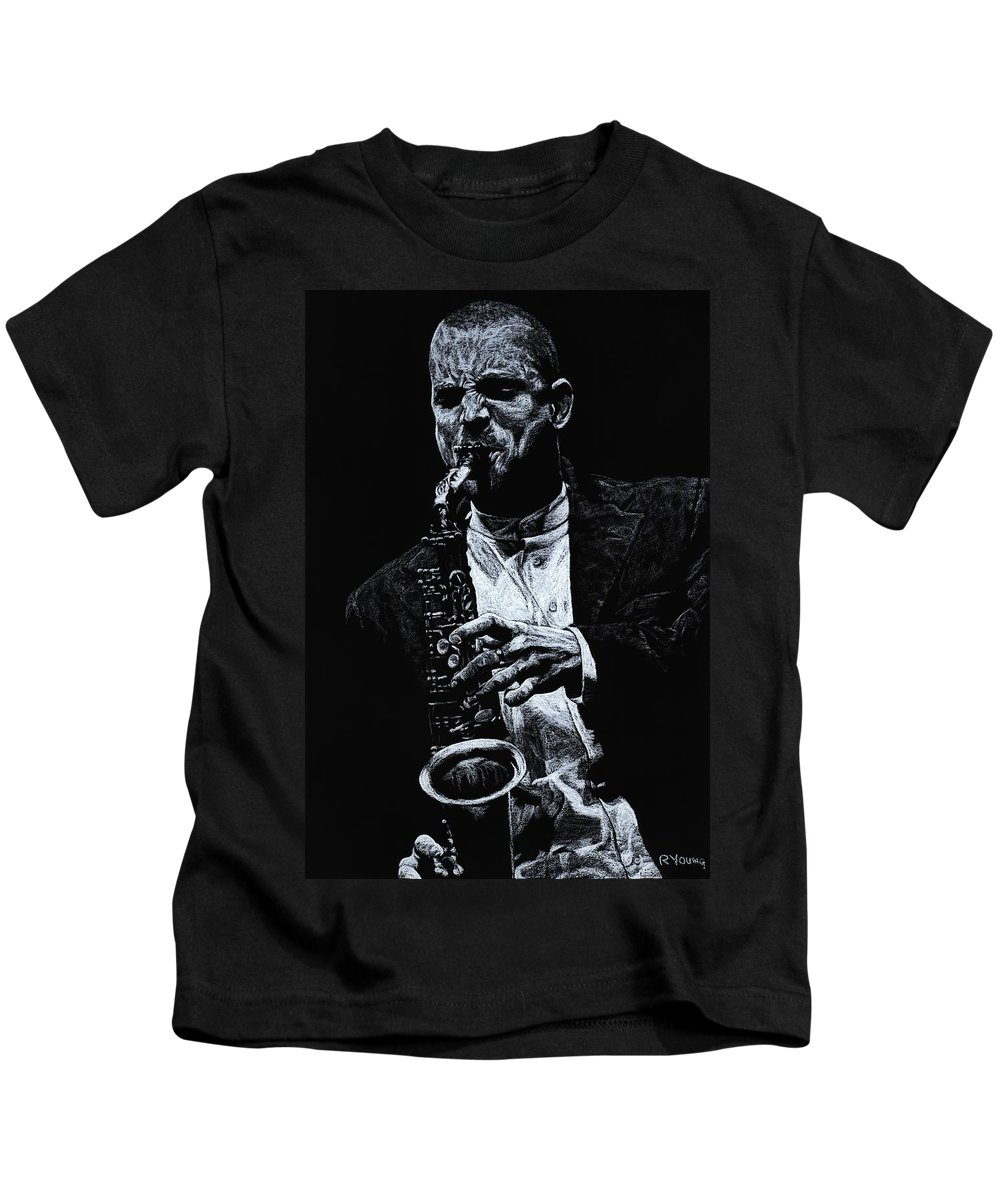 Musician Kids T-Shirt featuring the pastel Sensational Sax by Richard Young