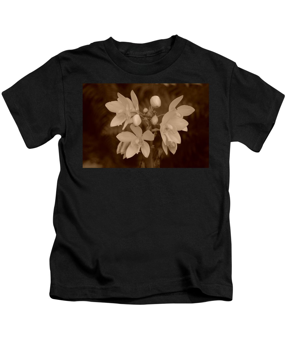 Macro Kids T-Shirt featuring the photograph Sepia Flower by Rob Hans