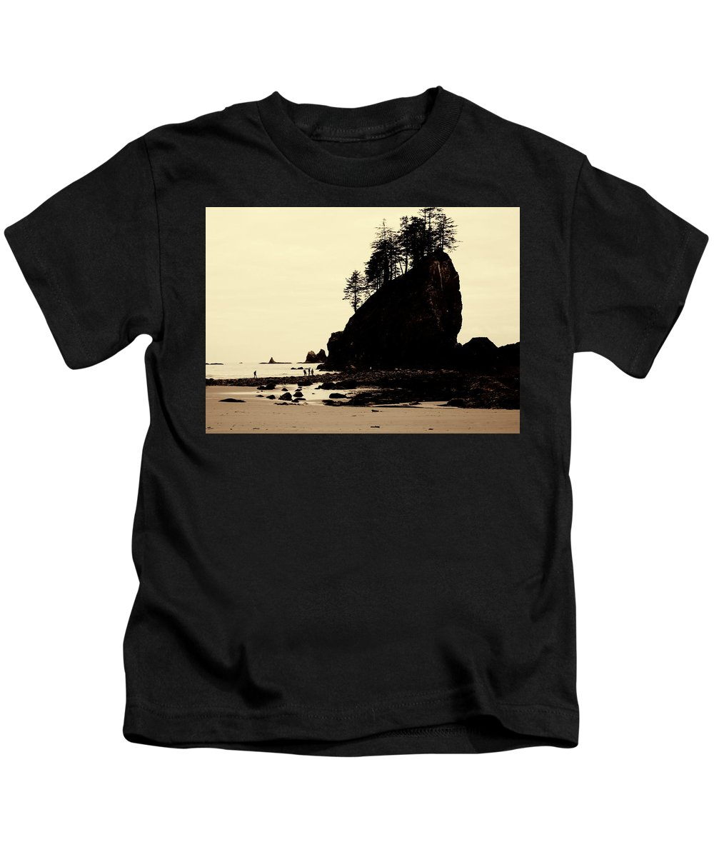 Sepia High Contrast Rialto Beach Kids T-Shirt featuring the photograph Sepia High Contrast Rialto Beach by Dan Sproul