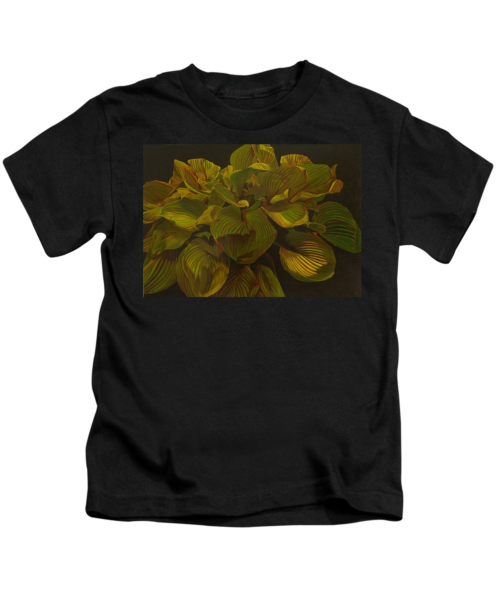 Plant Kids T-Shirt featuring the painting September Night by Thu Nguyen