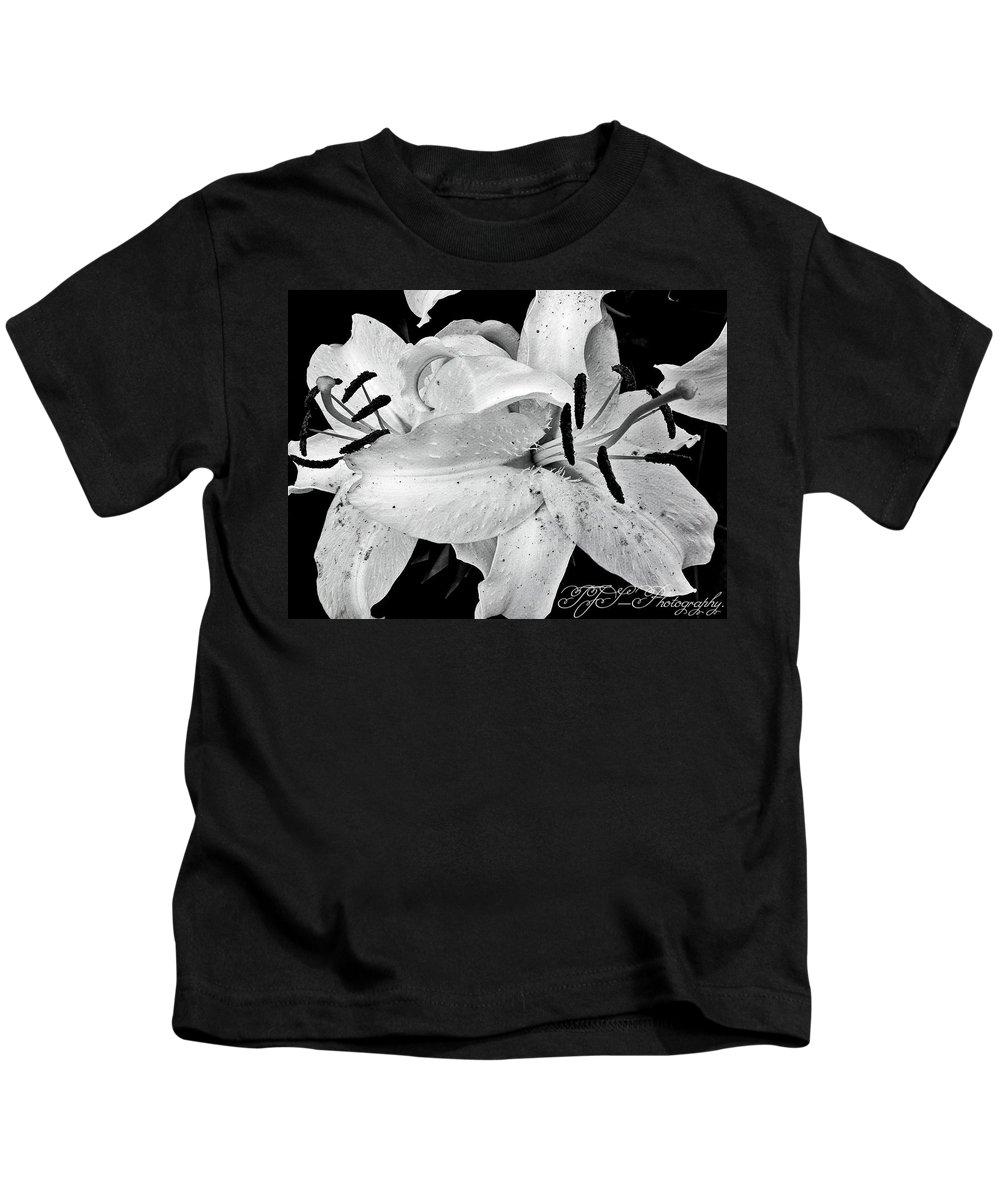 #abstract #weddingtime #flowers #grunge #interior #petals Kids T-Shirt featuring the mixed media September Wedding. by Tina S