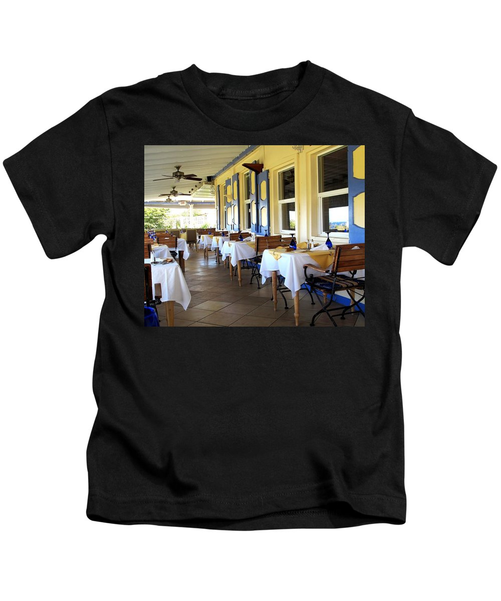 Serendipity Kids T-Shirt featuring the photograph Serendipity Restaurant St Kitts by Ian MacDonald
