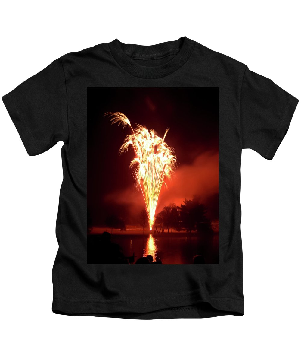 Series Of Fireworks 2 Kids T-Shirt featuring the photograph Series Of Fireworks 2 by Cynthia Woods