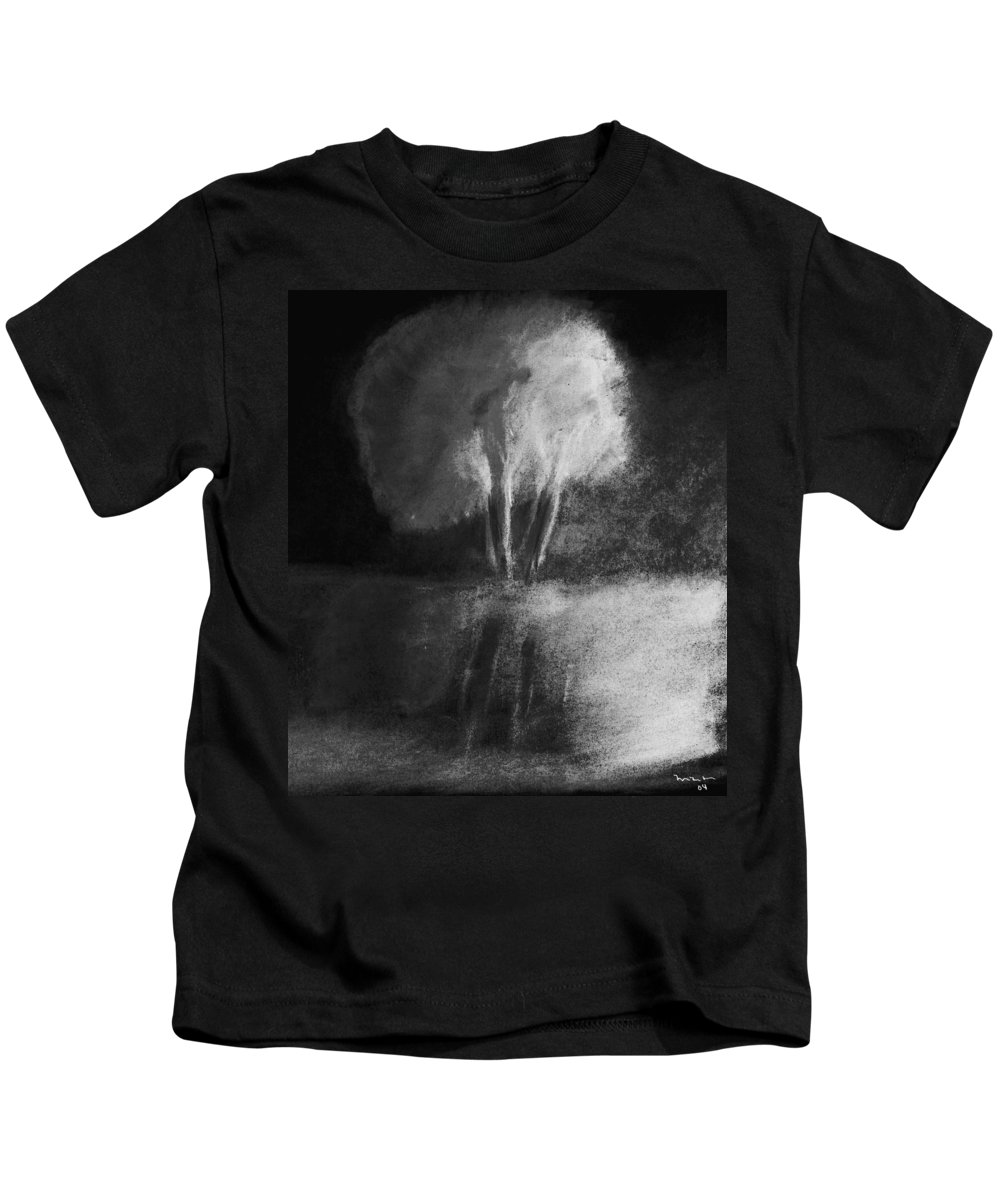 Tree Kids T-Shirt featuring the pastel Shadow Of A Tree by Melvin Moon