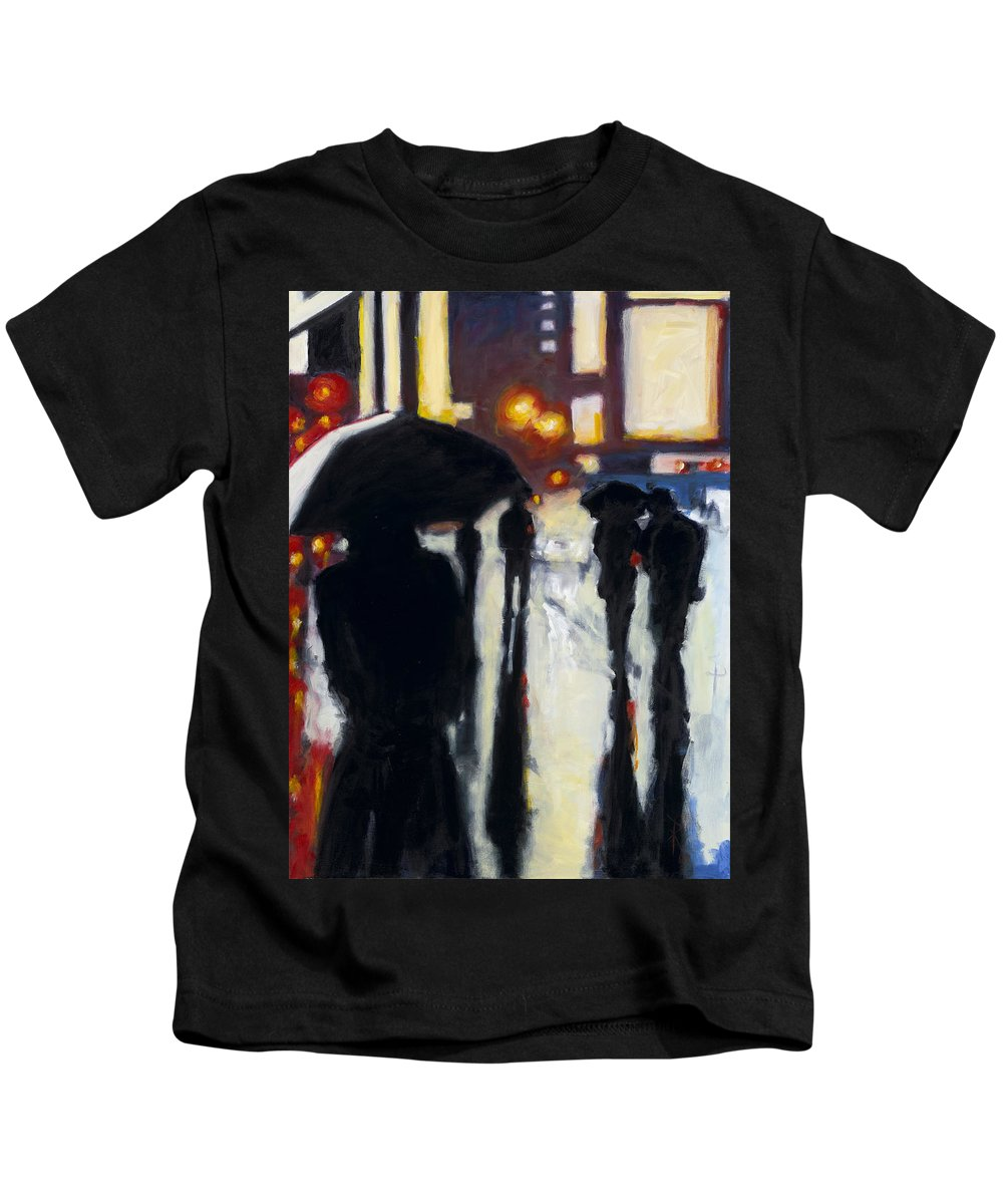 Rob Reeves Kids T-Shirt featuring the painting Shadows In The Rain by Robert Reeves