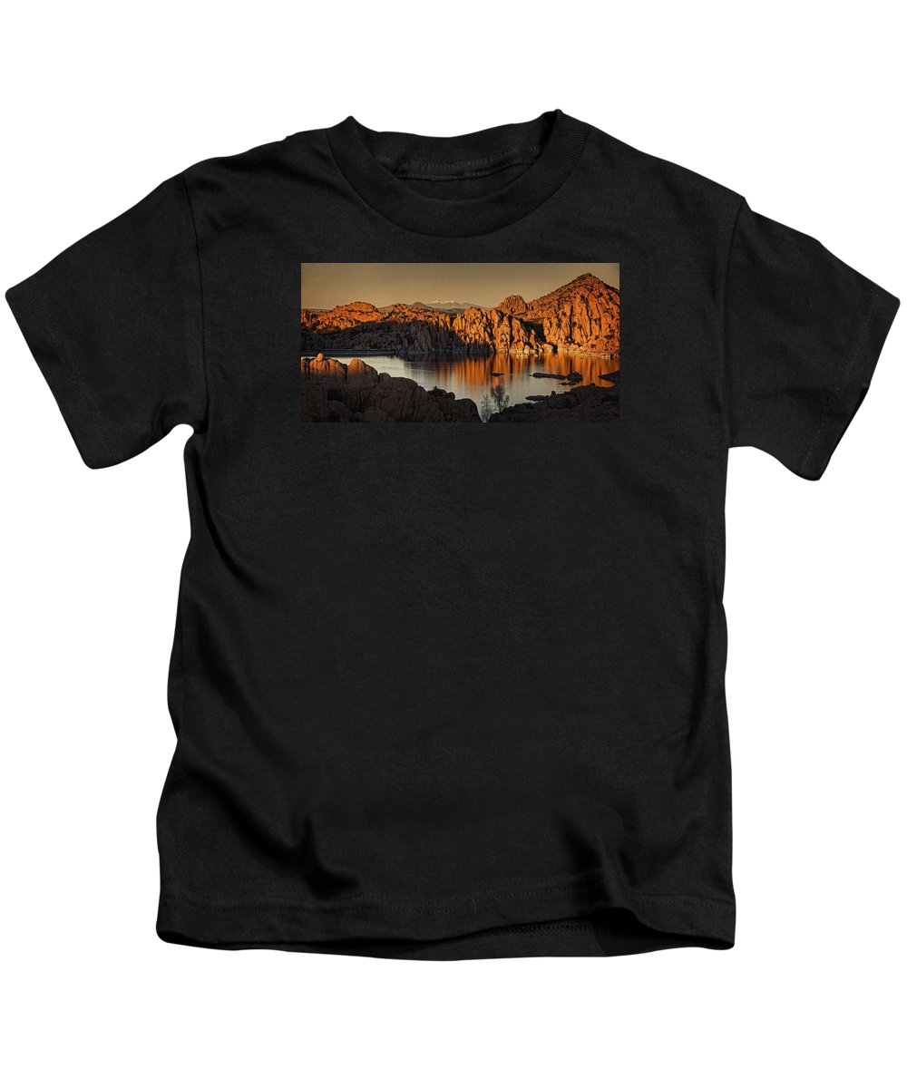 Watson Lake Kids T-Shirt featuring the photograph Shadows Of The Setting Sun Tx2 by Theo O'Connor