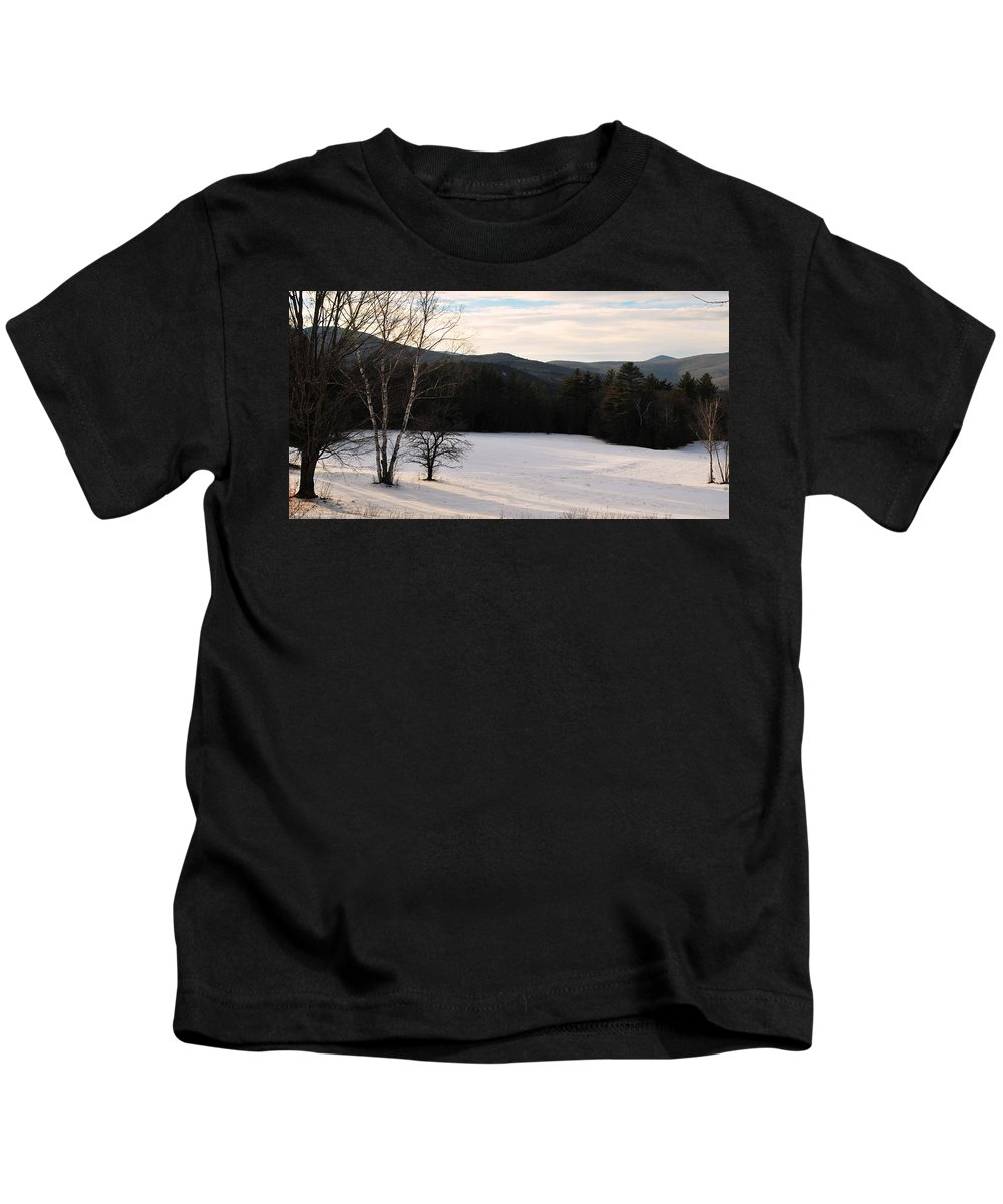 Back Roads Of New Hampshire January 28 Kids T-Shirt featuring the photograph Shadows On A Snow Covered Field by Bill Driscoll