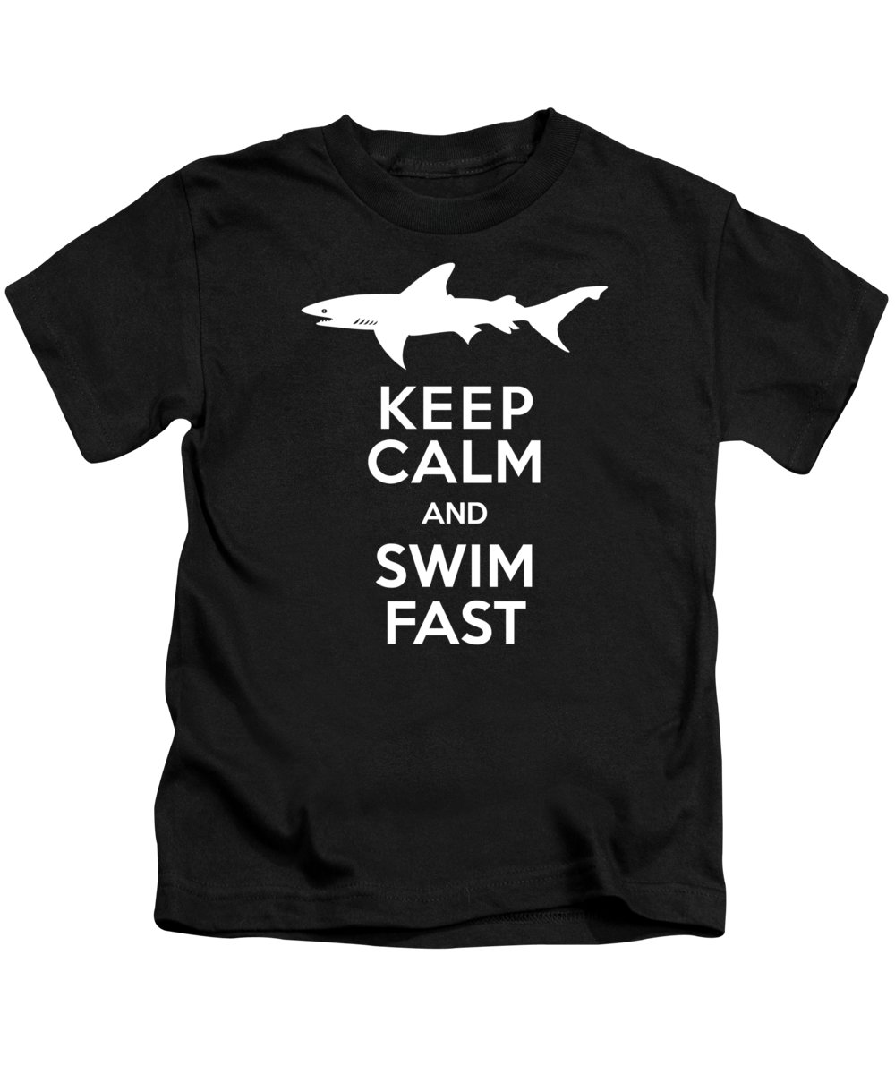 Shark Kids T-Shirt featuring the digital art Shark Keep Calm And Swim Fast by Antique Images