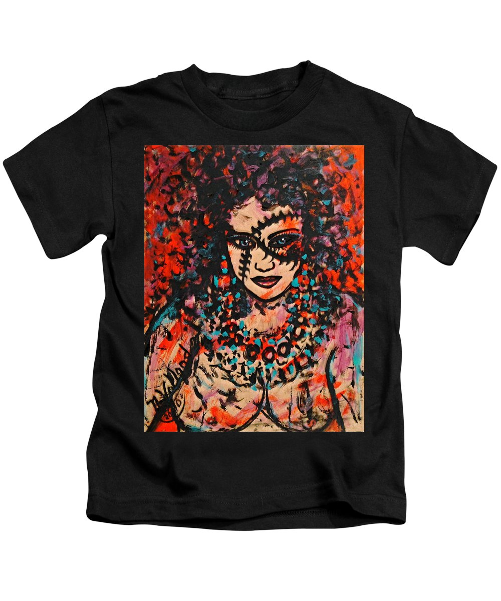 Woman Kids T-Shirt featuring the painting Shayna by Natalie Holland