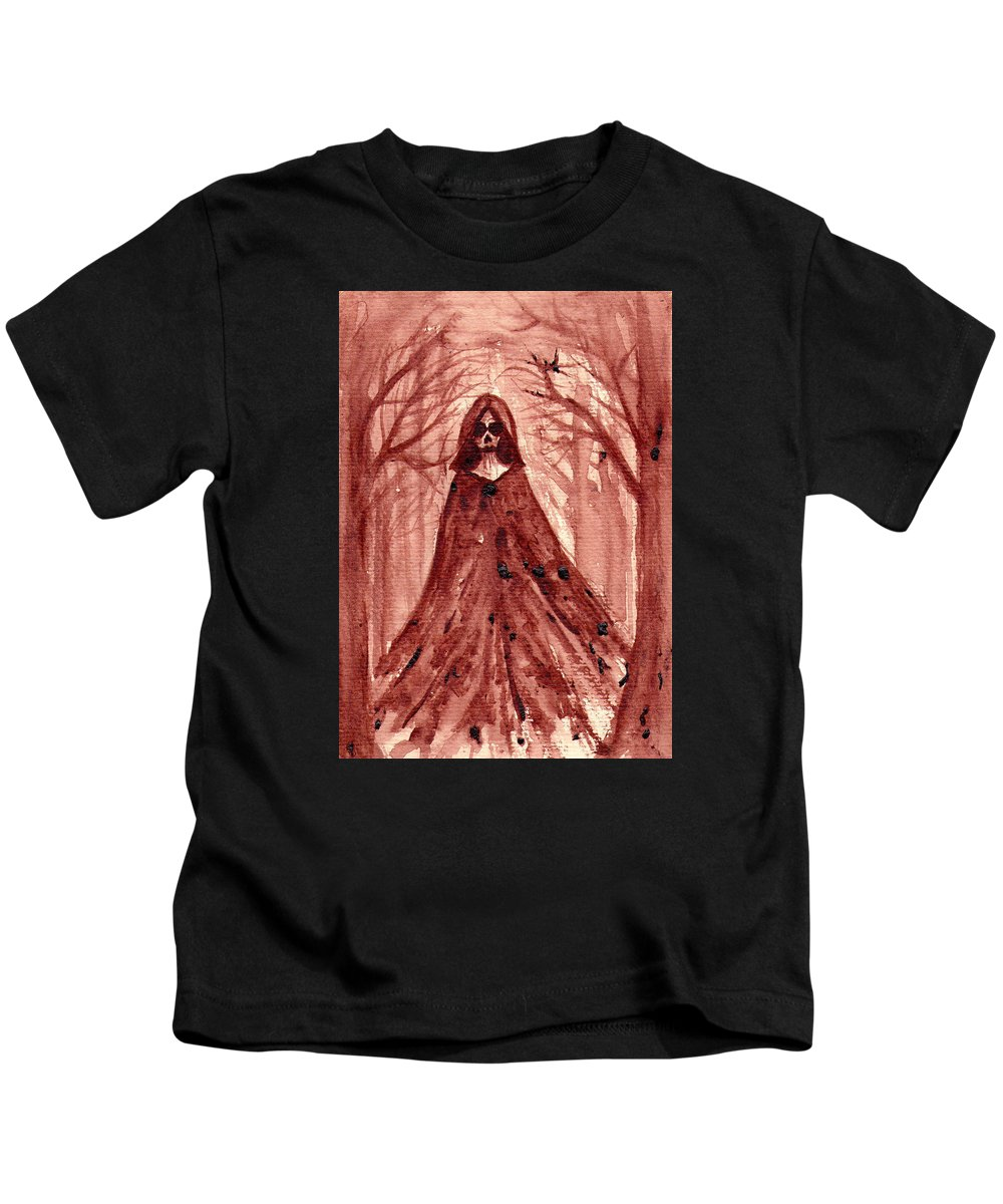 Grim Reaper Kids T-Shirt featuring the painting She Is... by Cannibal Wednesday