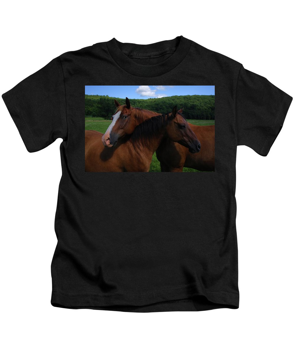 Horses Kids T-Shirt featuring the photograph She Is Mine by Karol Livote