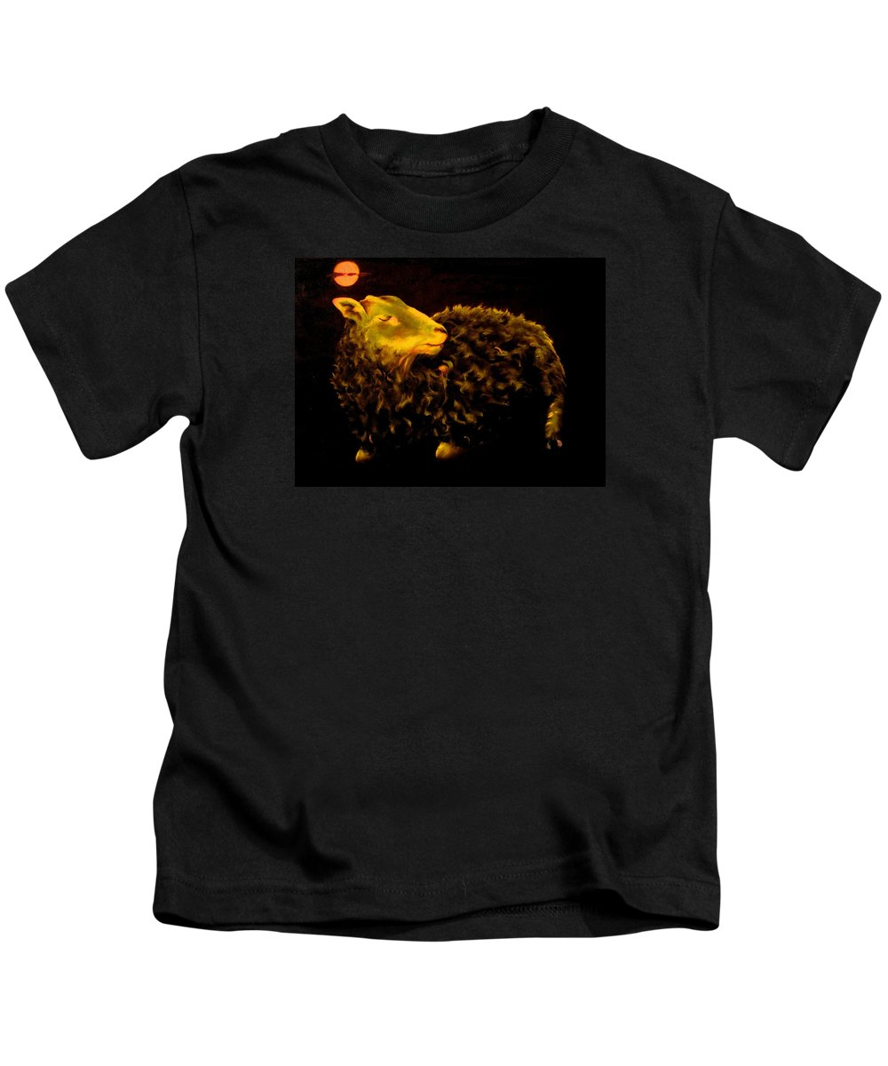 Sheep Kids T-Shirt featuring the painting Sheep At Night by Mark Cawood