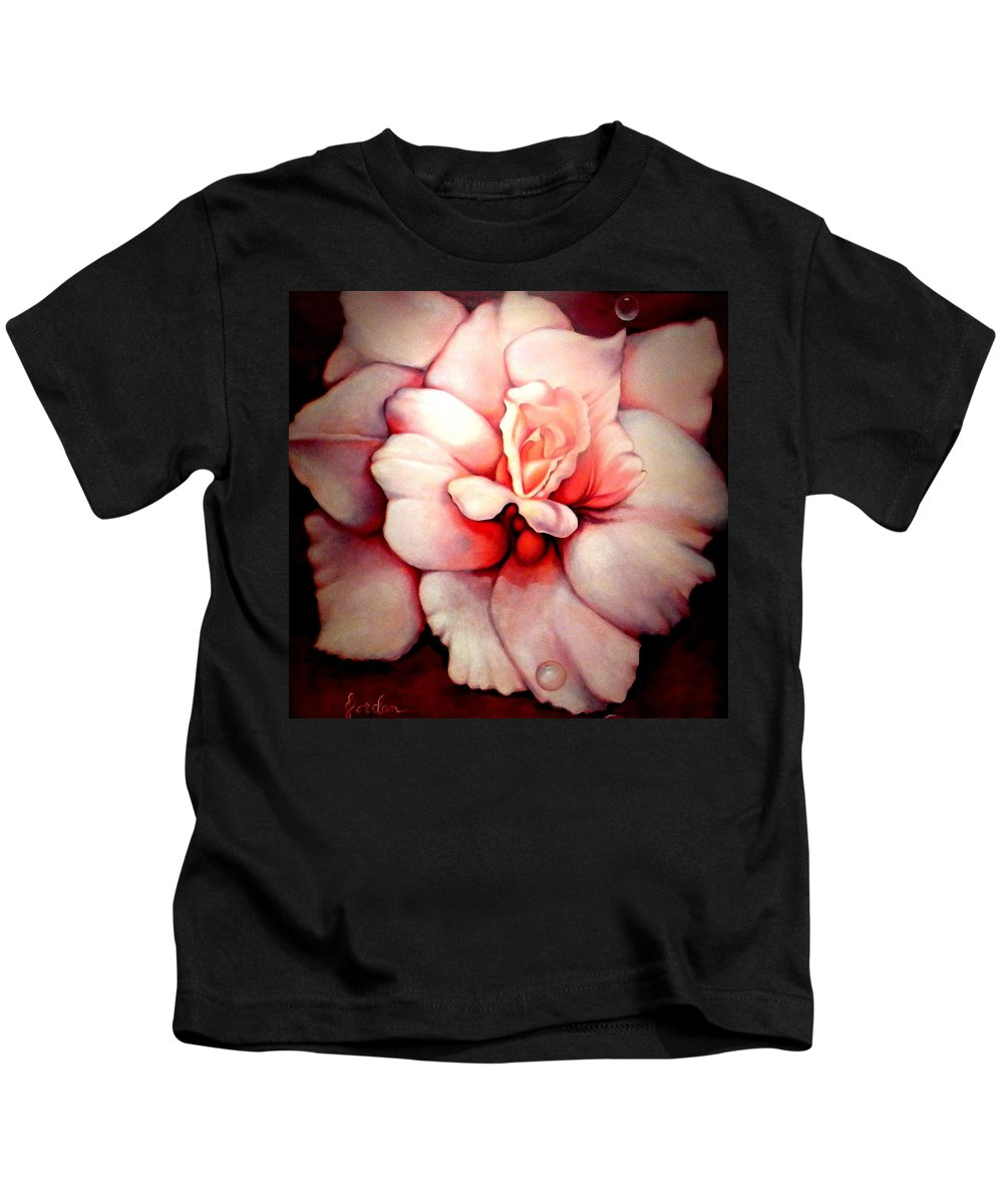 Blooms.large Rose Kids T-Shirt featuring the painting Sheer Bliss by Jordana Sands