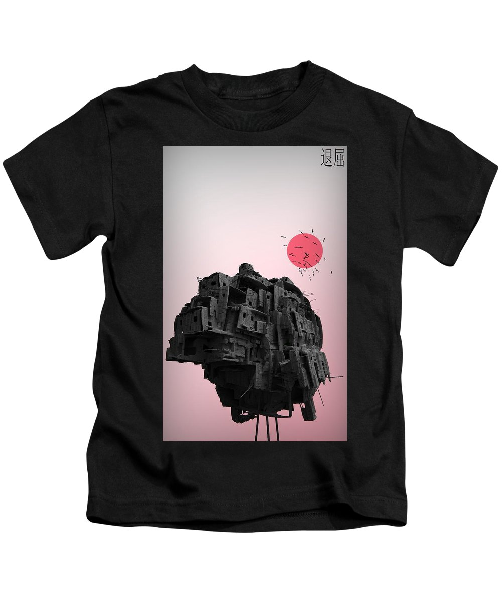 Kids T-Shirt featuring the digital art Shinigami House by Henri Schoots