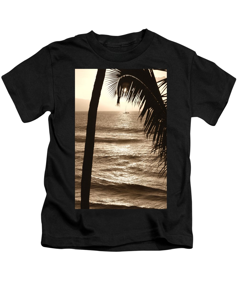 Hawaii Kids T-Shirt featuring the photograph Ship In Sunset by Marilyn Hunt