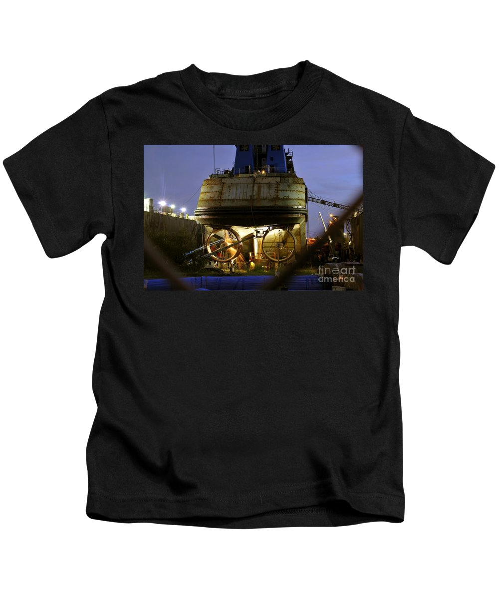 Shipyard Kids T-Shirt featuring the photograph Shipyard Work by David Lee Thompson