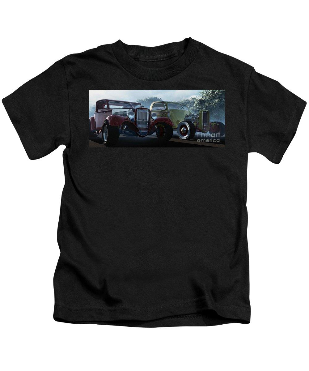 Hot Rods Kids T-Shirt featuring the digital art Showdown by Richard Rizzo