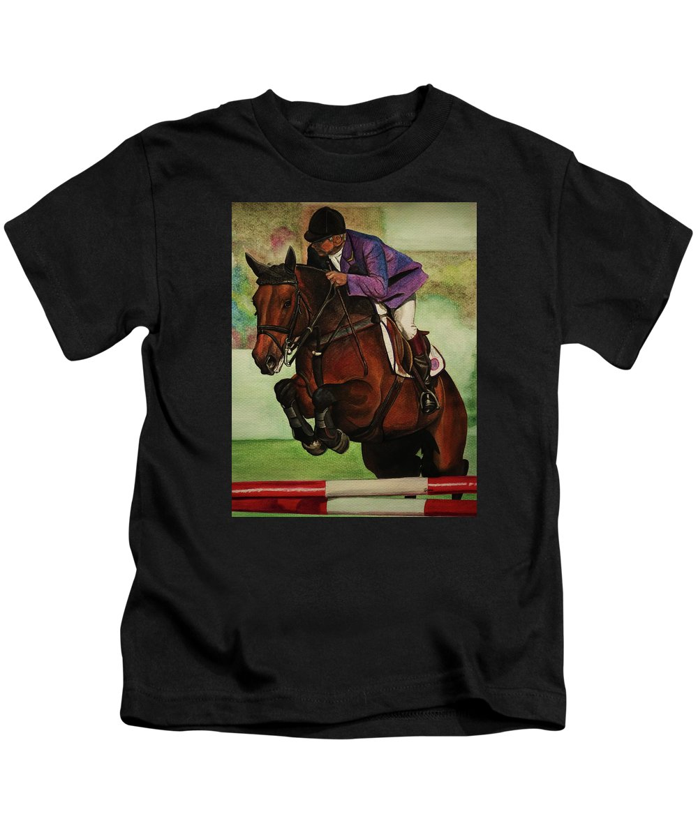 Showjumping Kids T-Shirt featuring the painting Showjumping by Lucy Deane