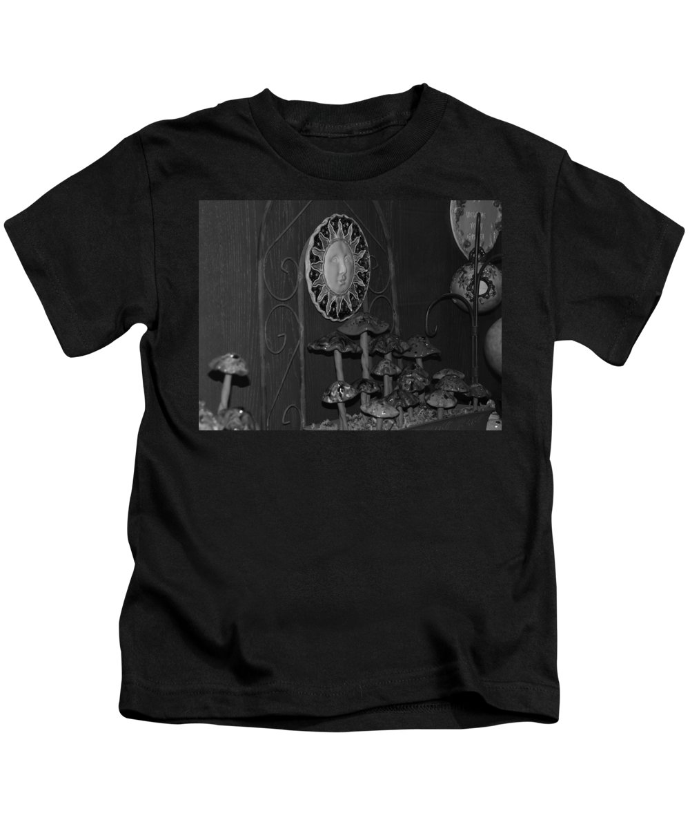 Black And White Kids T-Shirt featuring the photograph Shrooms And Sun by Rob Hans