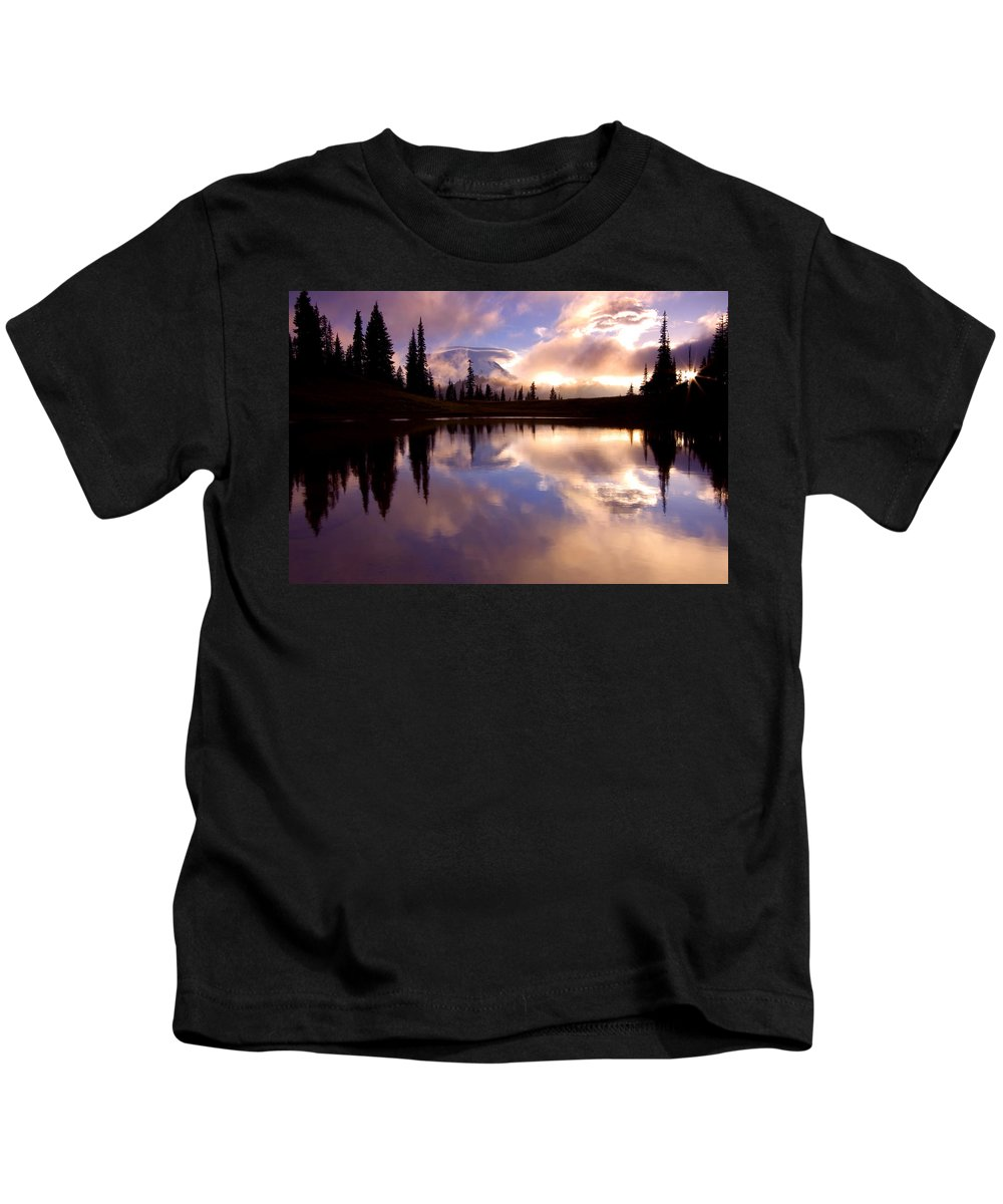 Rainier Kids T-Shirt featuring the photograph Shrouded In Clouds by Mike Dawson