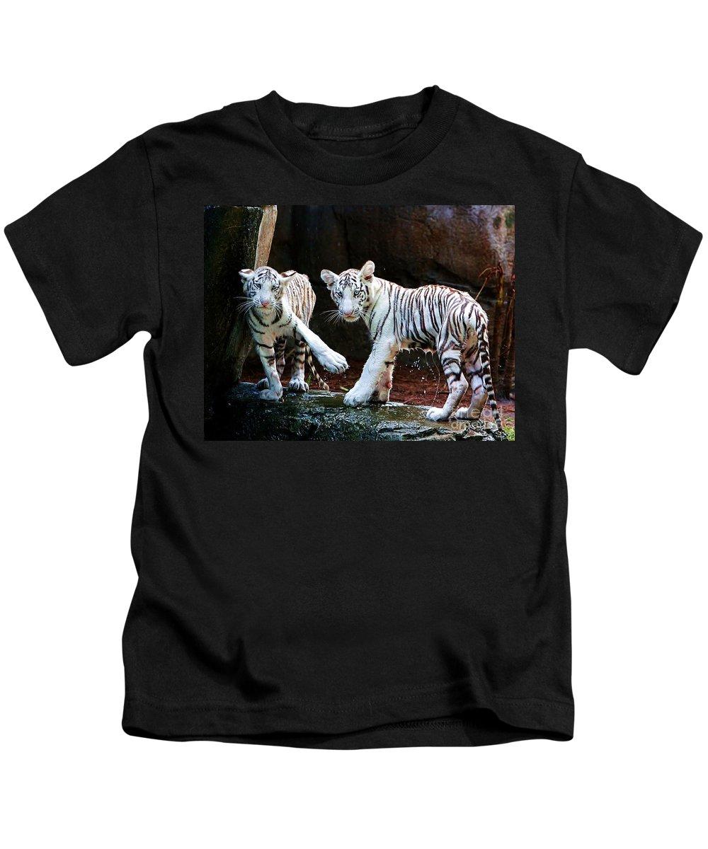 Tiger Kids T-Shirt featuring the photograph Siberian Tiger Cubs by Randy Matthews