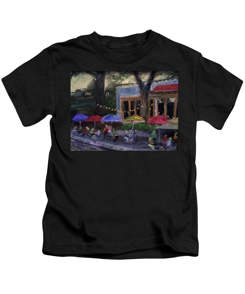 Landscape Kids T-Shirt featuring the painting Sidewalk Cafe by Stephen King