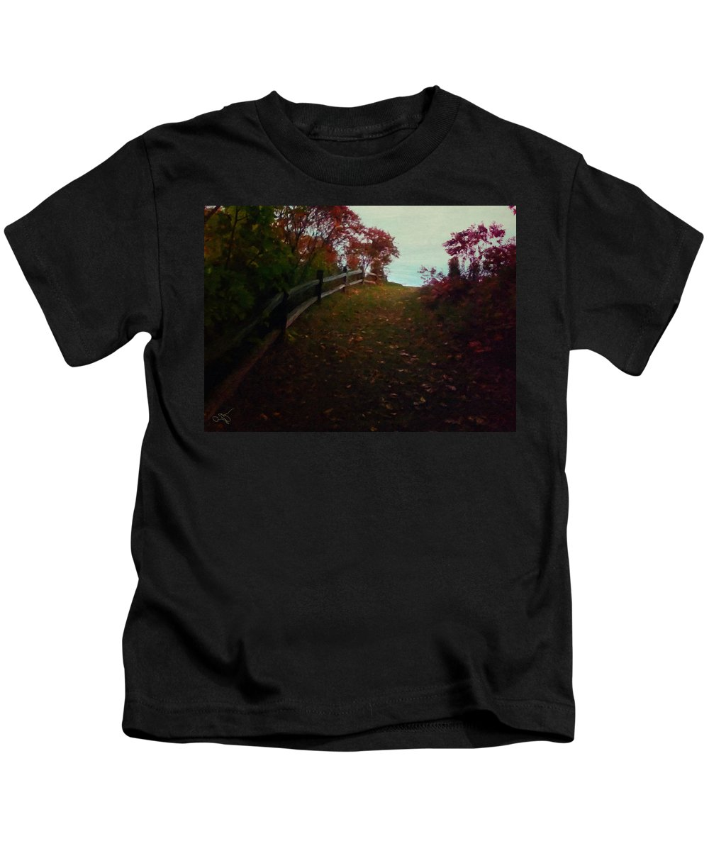 Landscape Kids T-Shirt featuring the painting Siena In The Fall by Amy Shaw