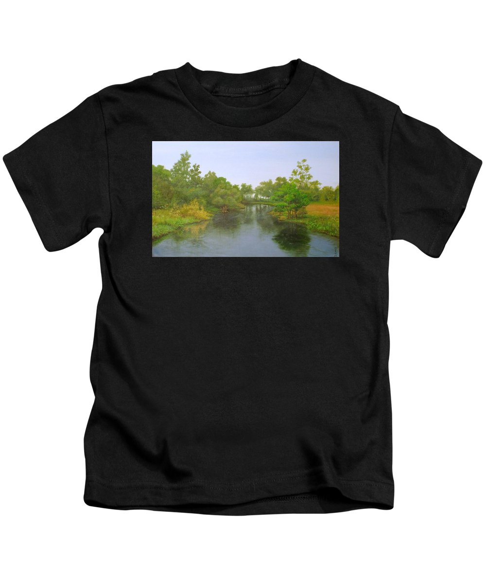 Fluss Kids T-Shirt featuring the painting Signed Fluss By Samuel Matheis Acrylic River Holzminde, Holzminden, Germany. by Samuel Matheis