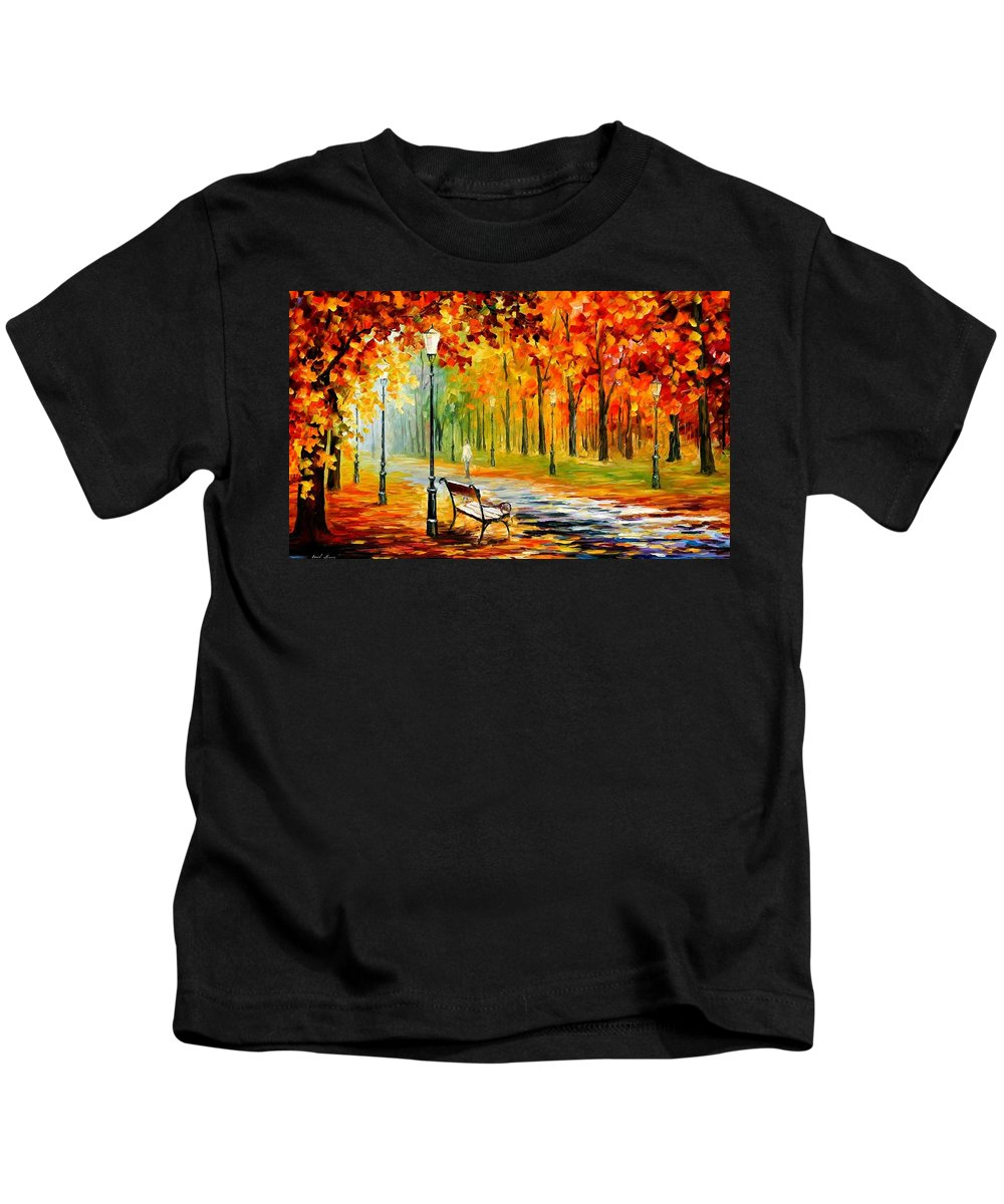 Afremov Kids T-Shirt featuring the painting Silence Of The Fall by Leonid Afremov