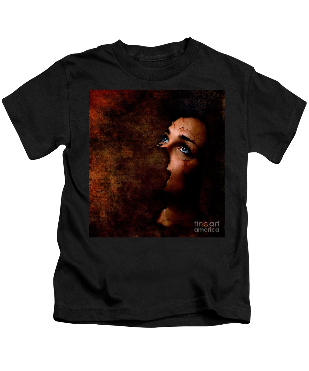 Surreal Kids T-Shirt featuring the digital art Silenced by Jacky Gerritsen