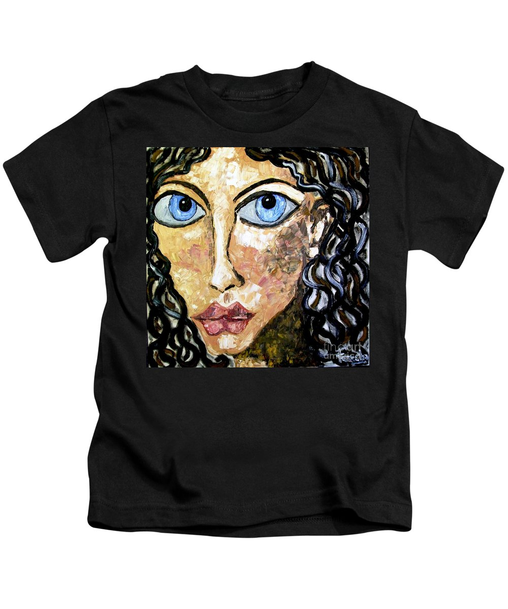 Fareeha Khawaja Kids T-Shirt featuring the painting Silent Blue by Fareeha Khawaja