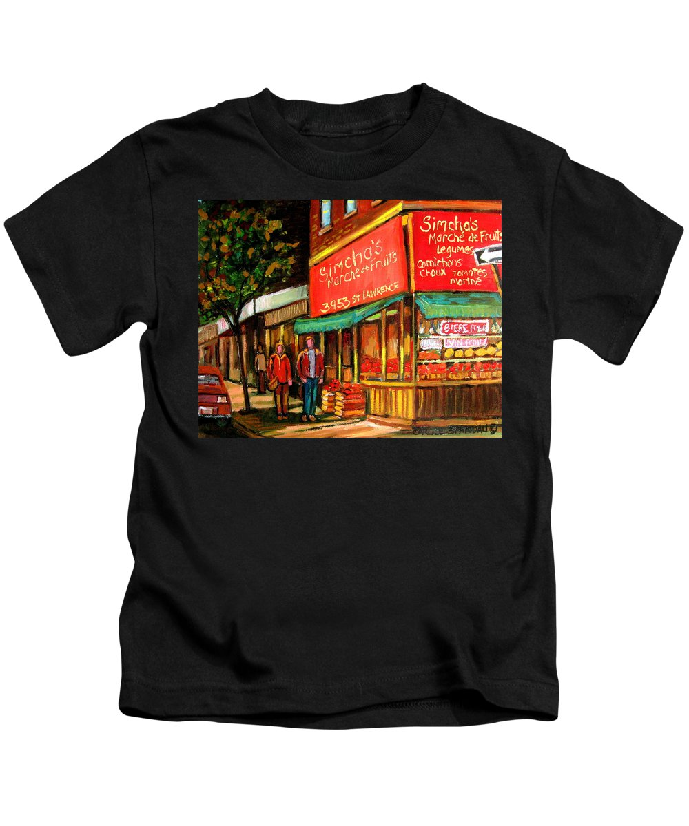 Simchas Fruit Store Kids T-Shirt featuring the painting Simchas Fruit Store by Carole Spandau