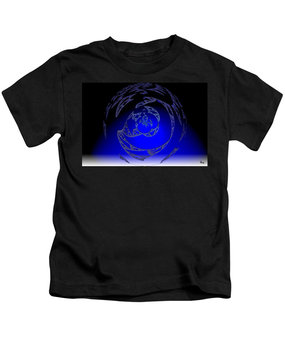 Blue Triangle Outter Space Abstract Worlds Galaxy Portal Kids T-Shirt featuring the digital art Simply Blue by Andrea Lawrence