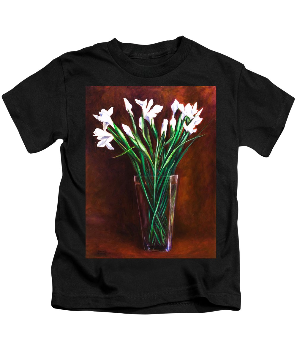 Iris Kids T-Shirt featuring the painting Simply Iris by Shannon Grissom