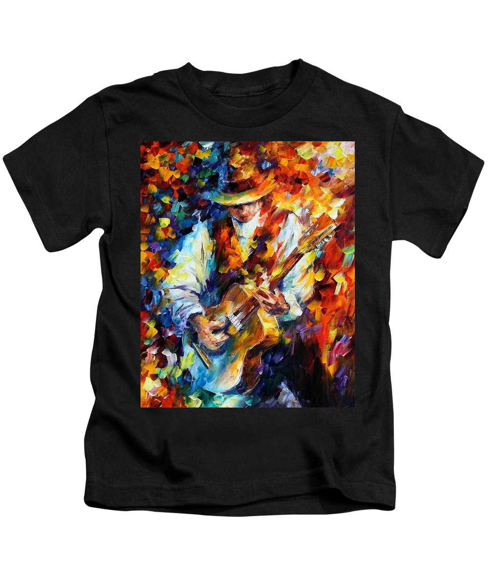Afremov Kids T-Shirt featuring the painting Sing My Guitar by Leonid Afremov