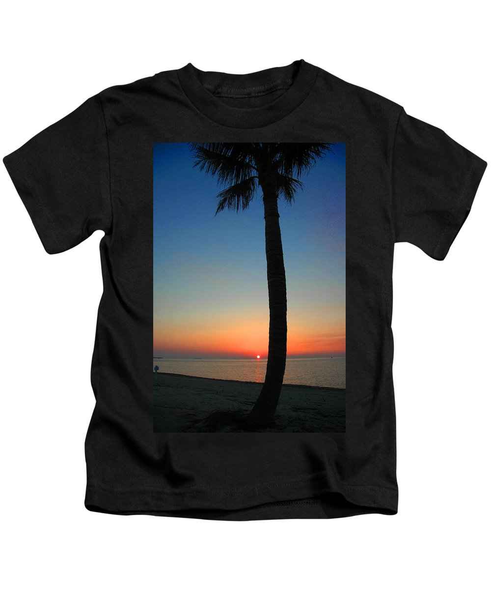 Photography Kids T-Shirt featuring the photograph Single Palm And Sunset by Susanne Van Hulst