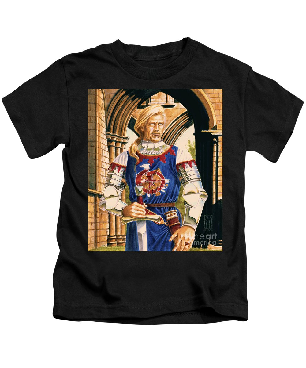 Swords Kids T-Shirt featuring the painting Sir Dinadan by Melissa A Benson