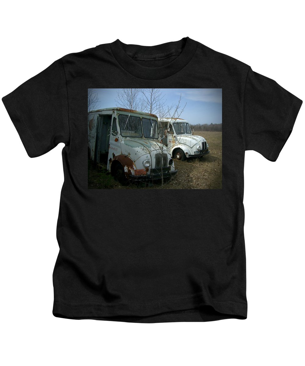 Trucks Kids T-Shirt featuring the photograph Sisters by Tim Nyberg