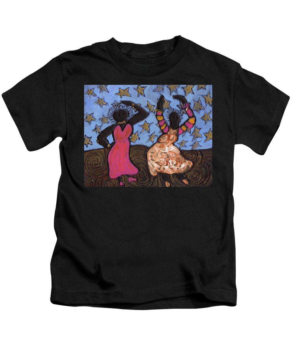 Folk Art Kids T-Shirt featuring the painting Sisters Sarah Sue And Sally Mae Swinging The Night Away by Wayne Potrafka