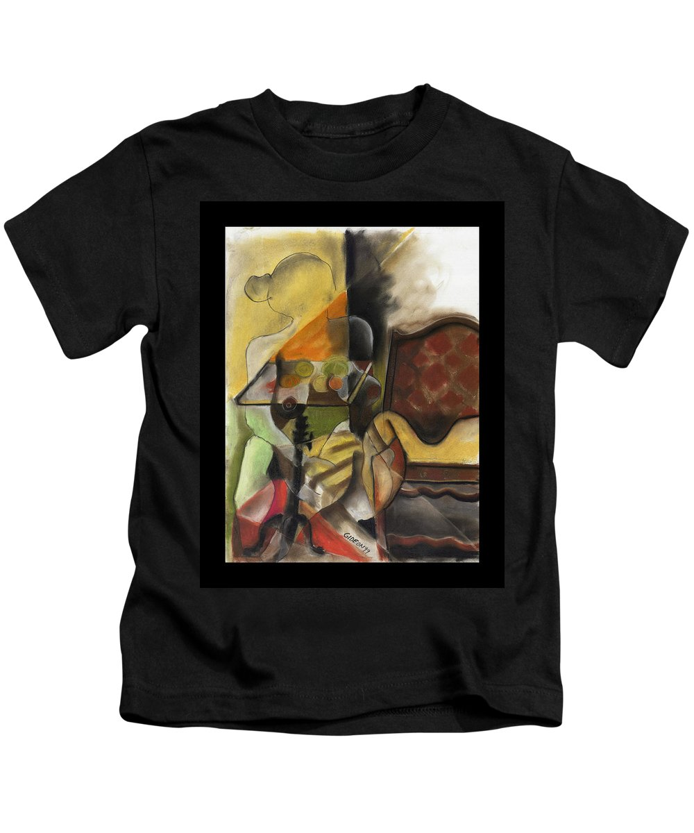 Drawing Kids T-Shirt featuring the drawing Sitting Figure II by Gideon Cohn