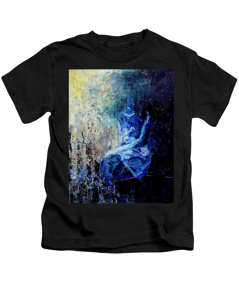 Woman Girl Fashion Kids T-Shirt featuring the painting Sitting Young Girl by Pol Ledent