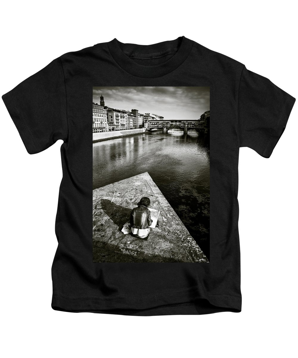 Sketching Kids T-Shirt featuring the photograph Sketching by Dave Bowman